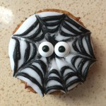 We used edible googly eyes for the monster web cupcake.