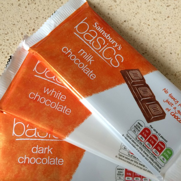 Sainsbury's Basics chocolate bars are only approx. 35p each. Brilliant value.