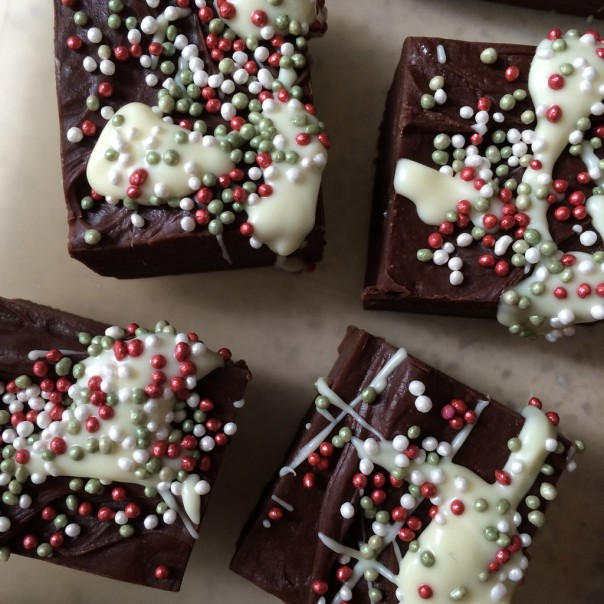 White chocolate and Christmas sprinkles.