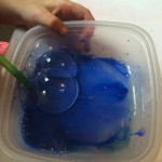 Mix paint and washing up liquid (no water needed!). Use a straw to blow bubbles.