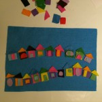 Me and the boy made a row of felt houses.