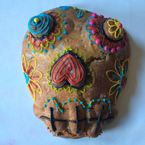 Once cool, decorate the skull. We used shop bought icing tubes.