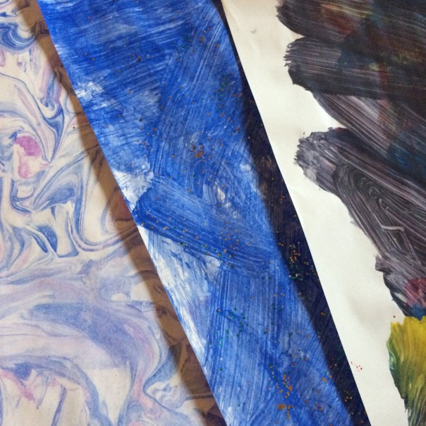 Our decorated papers (marbled and painted).