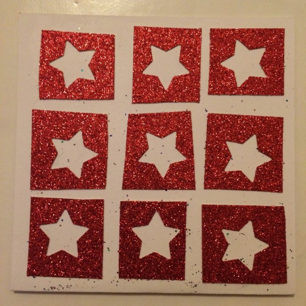 Stars. Punched out square grid.