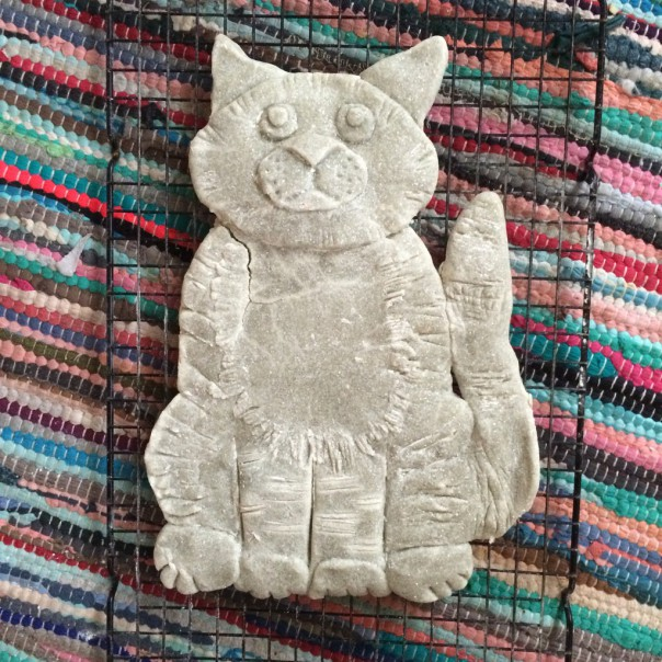 I baked Mog in a low oven for an hour but then left her to dry and harden for an additional few days. Mog's neck had a little crack in it after baking so I patched it up with some spare salt dough and left to dry some more.
