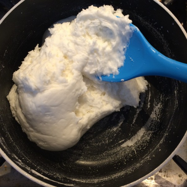 After 3 - 5 minutes the mixture will come away from the sides of the pan and form a soft dough.