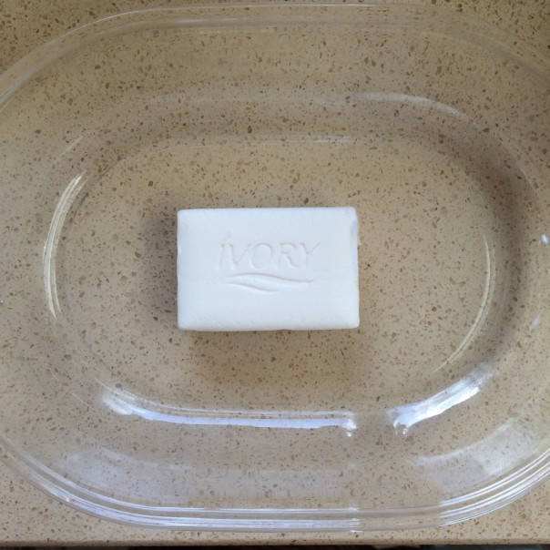 Place the soap in a microwaveable dish.