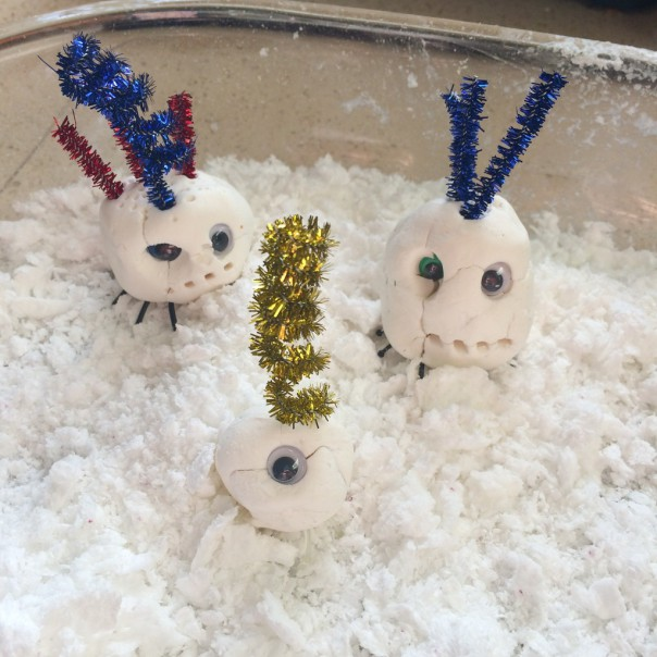 We played with the soap snow with the Snow Spider Monsters we made out of homemade white modelling clay.  (Don't throw the soap snow away, it can still be used as soap, keep in a jar in the bathroom)