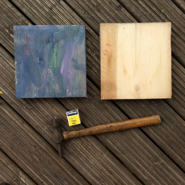 We had some plank cut offs leftover from making shelves. We painted our planks with ready mixed poster paint.