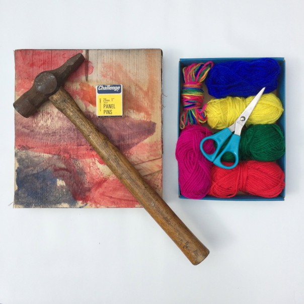 What you'll need: planks of wood, hammer, small nails, wool and scissors.