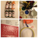 Liquid watercolours, paintbrushes, paint pots, jug of water, cartridge paper and salt.