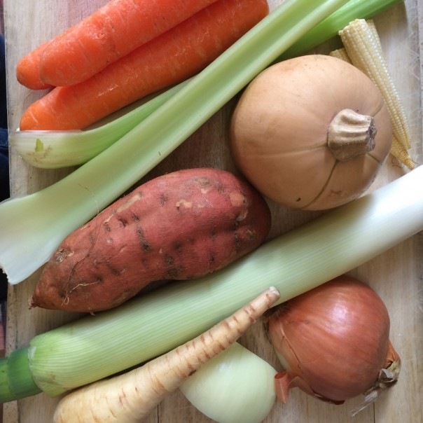 These are our favourite ingredients for Super Soup but we vary it regularly. Use whatever veggies you have in the house.