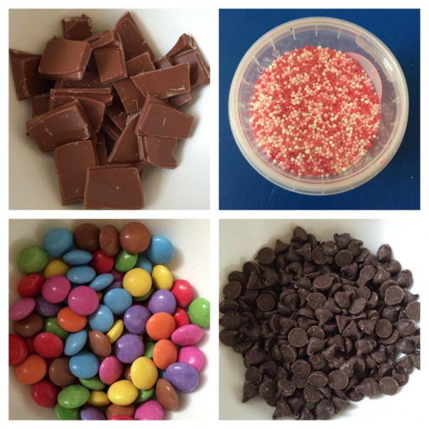 Milk chocolate to melt, sprinkles, colourful chocolate beans and dark chocolate drops.