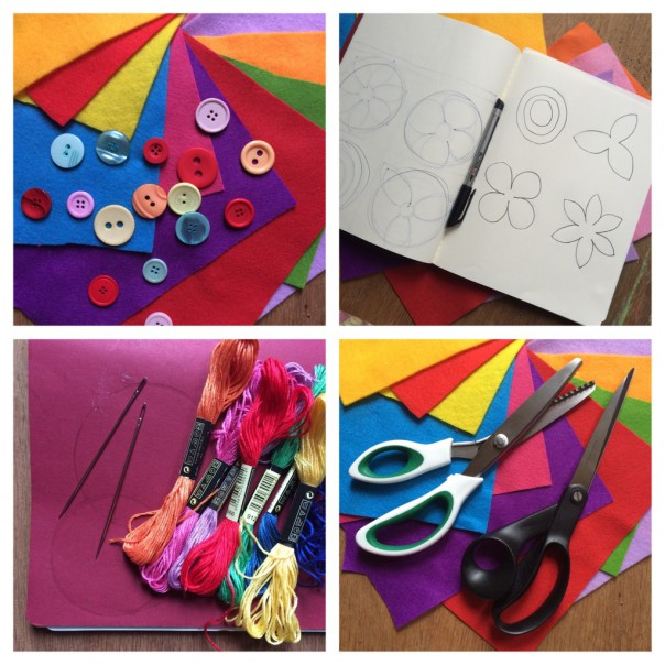 Felt, buttons, scissors, pinking shears, embroidery thread and needles. Draw some simple flower shapes, circles and leaf shapes to use as a template.