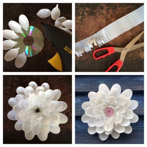 Use a glue gun to stick the spoon petals around the cd. Cut a piece of milk bottle plastic into a long rectangular fringe and glue into the middle. Add a button in the centre.