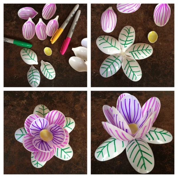 Spoon water lily. The girl drew on the spoon petals with Sharpies before I glued it all together.