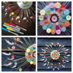 The girl and I used a cd as a base and glued buttons and spoons around it to make a huge flower. The girl used Sharpies to add more colour too.