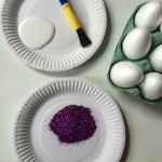 Glitter egg: glitter, PVA glue and a paintbrush. Cover the egg in glue and roll in glitter. Tap off the excess and leave to dry.