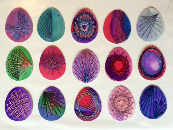 Embroidered eggs.