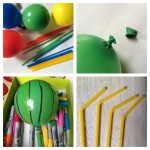Balloons and drinking straws. Try decorating the balloons with Sharpies (permanent markers).