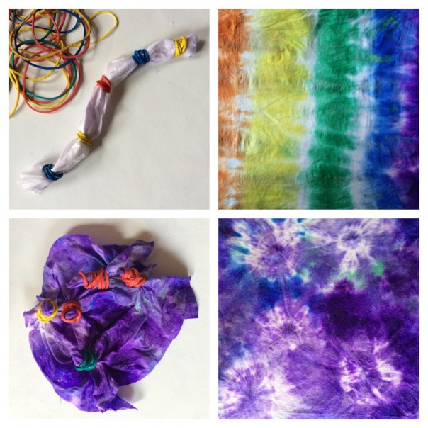 Stripe tie dye: Scrunch the wipe into a long 'sausage' and put elastic bands around at intervals. Apply different coloured inks to create stripes, remove the elastic bands and unfold. Circles tie dye: Pinch the wipe and wrap around elastic bands in lots of places. Add ink, remove elastic bands, unfold.