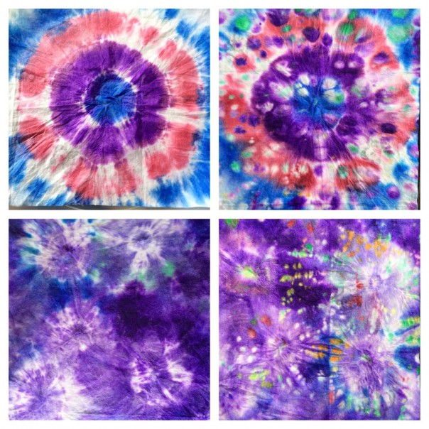 Quite by accident we laid some tie dyed wipes on top of eachother while wet  which created a beautiful effect with different colours filling the white parts left by the elastic bands and folds.