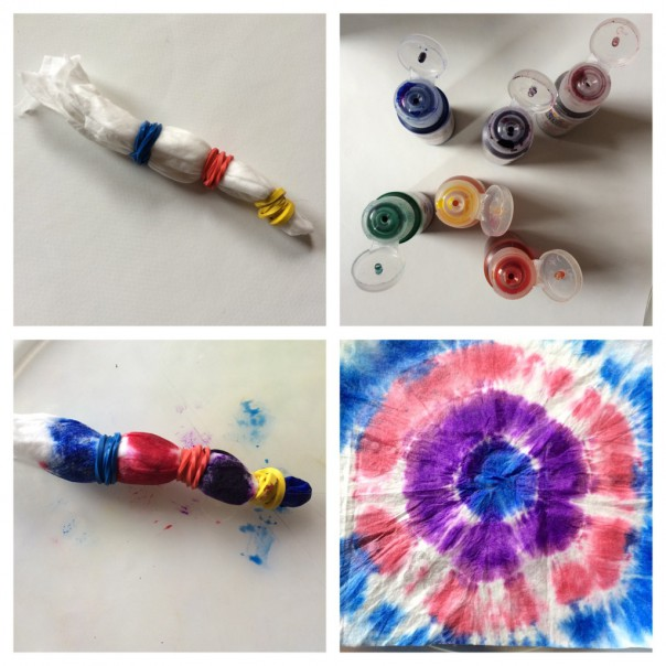 Circle tie dye: Take hold of the wipe in the middle and wrap an elastic band around near the gathered end. Repeat along the bunched together wipe. Squirt watercolour inks onto the wipe. Take off the elastic bands and unfold.