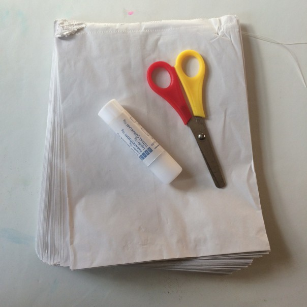 All you need are paper bags (no gusset), glue stick and scissors.