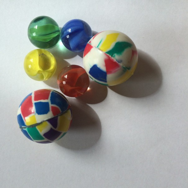 We used marbles and rubber balls but again, you can use any balls your children have lying around!