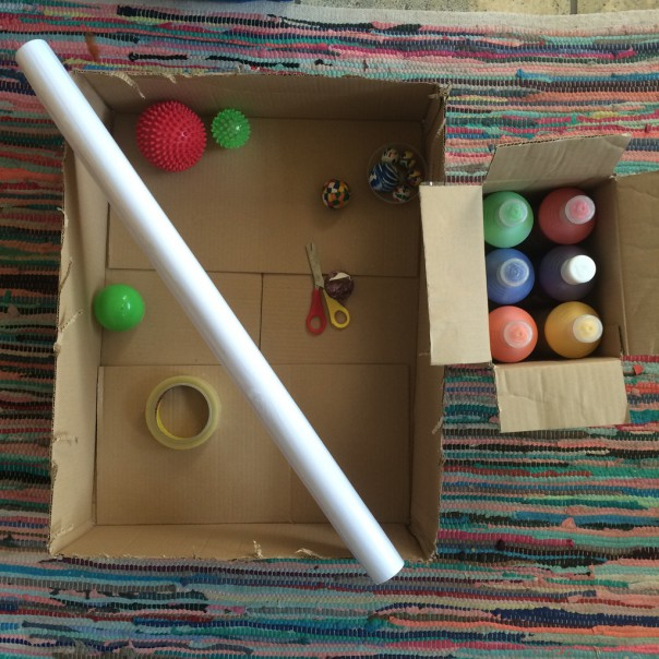 Next we tried a big box, big poster paper and bigger balls!