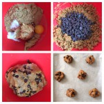 Mix everything together, then add the chocolate chips. Divide into 15 balls and bake on a parchment covered tray.