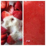 Strawberries and granulated sugar whizzed to a puree.