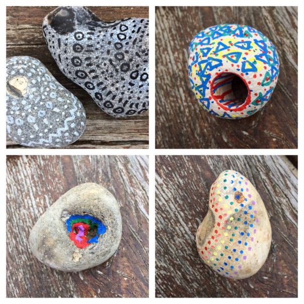 Try decorating the stones by following the contours and shapes.