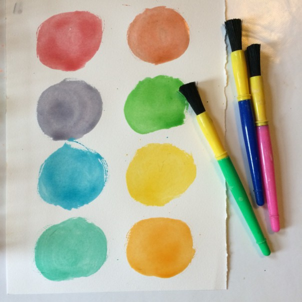 Use paintbrushes and a jar of water just like you would for shop bought watercolours.