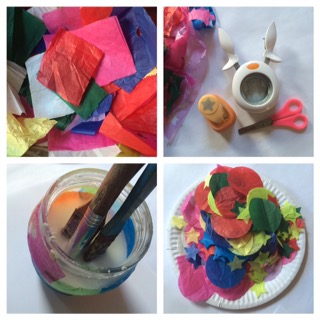 What you'll need: tissue paper, PVA glue and water mix, paintbrushes, paper punches.