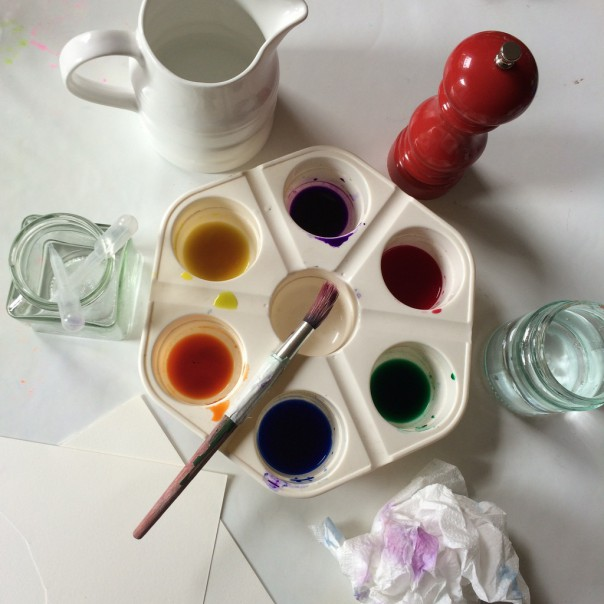 Watercolour inks, water, paintbrush, surgical spirit, pipette, salt, kitchen roll and cling film (not pictured).