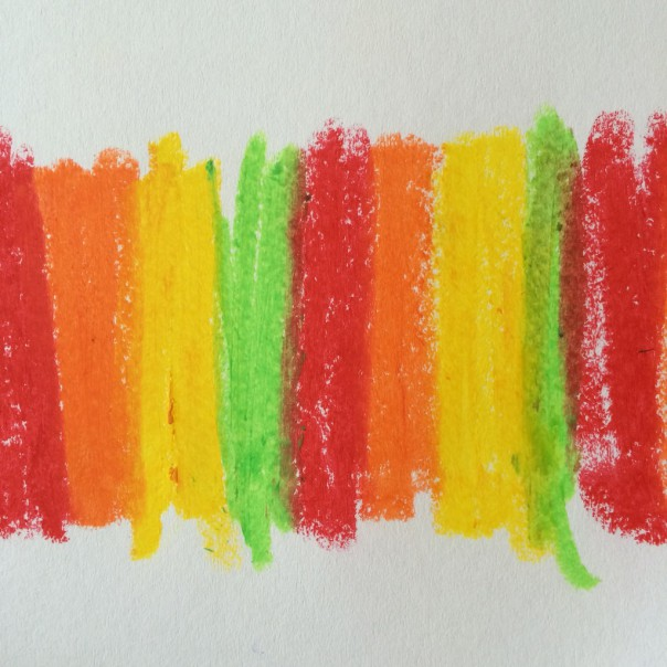 Colour block patterns on a piece of paper.