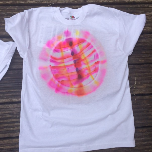 "Washing will fade the design, even with a fixative, but the boy calls it his ""colour changing t-shirt""."
