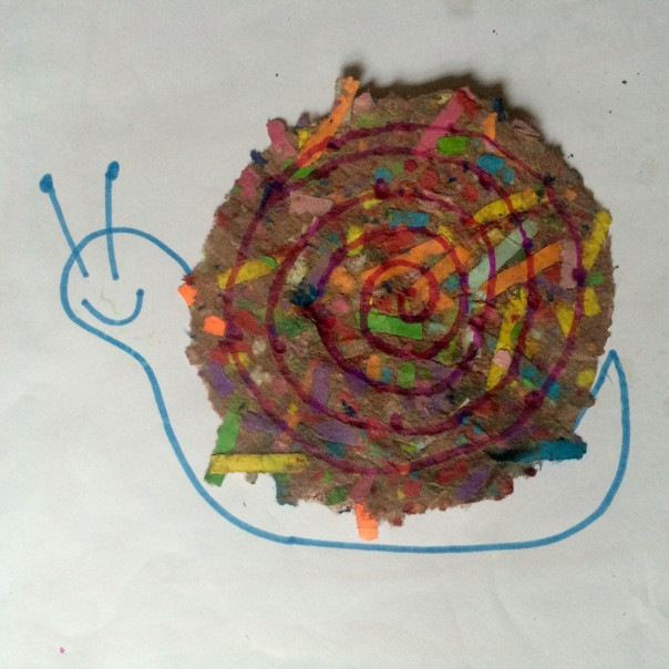 Our handmade paper snail.