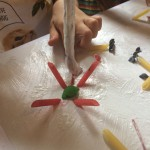 Glue + Coloured Pasta = Sticky Fun