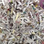 Shredded white paper.