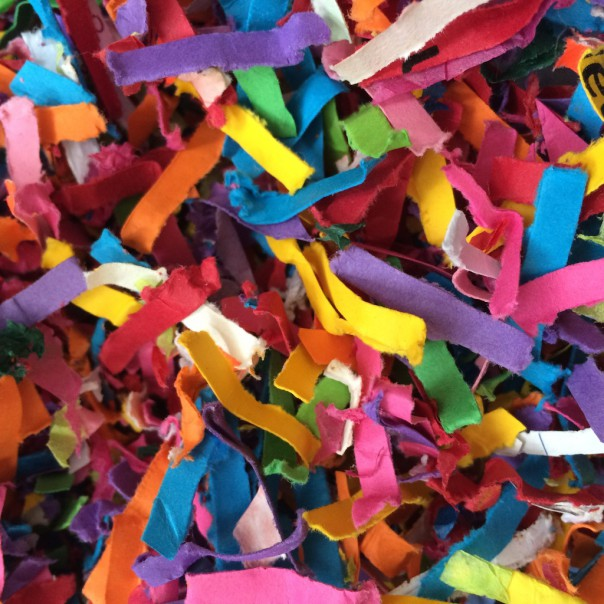 Shredded colourful paper.