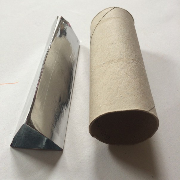 Make a mylar and card triangle tube to fit inside the cardboard tube.