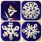 Cut into the triangle to make the snowflake 'arms' and unfold to open out.