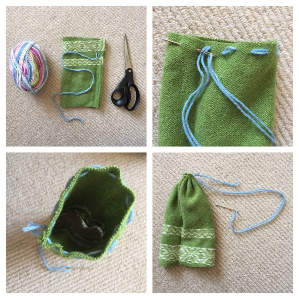 Turn the sleeve piece inside out.Using a large eyed plastic or metal needle threaded with wool, sew a running stitch all around one of the openings. Pull both ends of the wool together like a drawstring and tie a double knot.