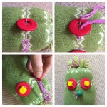 Sew two buttons and beads for eyes and a bead for a nose using a needle and wool.