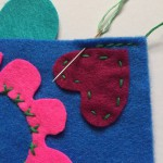 Picture 5: You can use any stitch to sew up your Love Monster - we used backstitch.