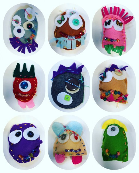 These are just some of the Love Monsters sewn by Reception, Year 1 and Year 2 children at my After School Clubs.